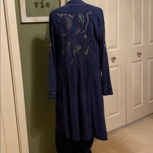NWOT FAUX SUEDE EMBROIDERED DUSTER